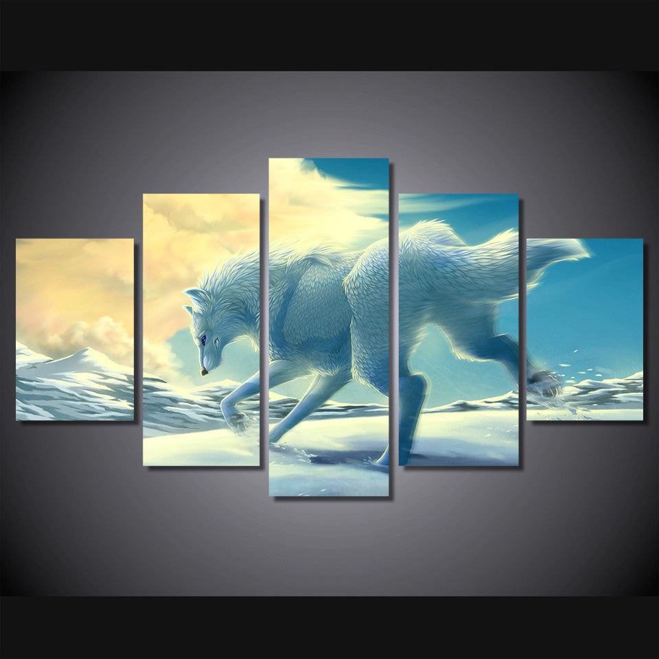 White wolf in the snow 5 Pcs Wall Canvas -  - TheLedHeroes