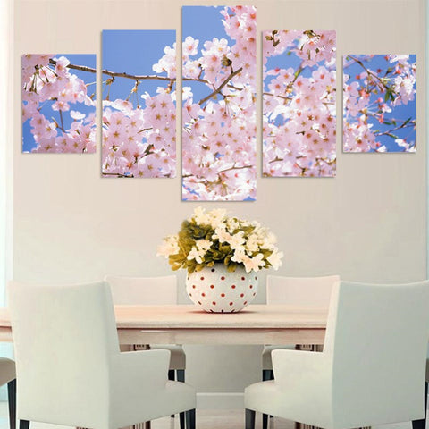 Beautiful Cherry Tree 5 Pcs Wall Canvas -  - TheLedHeroes