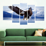 Eagle in the snow 5 Pcs Wall Canvas -  - TheLedHeroes