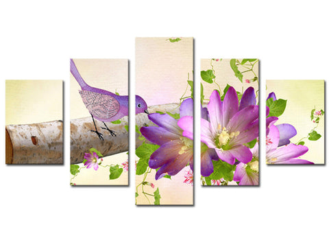 Beautiful Bird And Purple Flower 5 Pcs Wall Canvas -  - TheLedHeroes