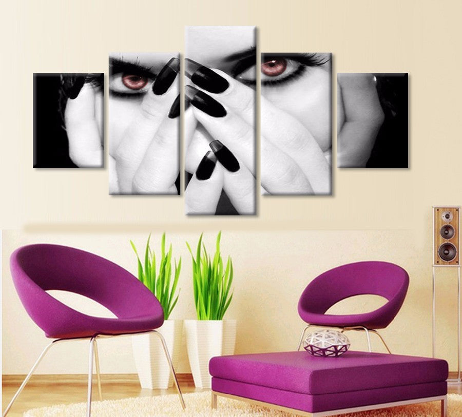 Beautiful girl 5 Pcs Wall Canvas -  - TheLedHeroes