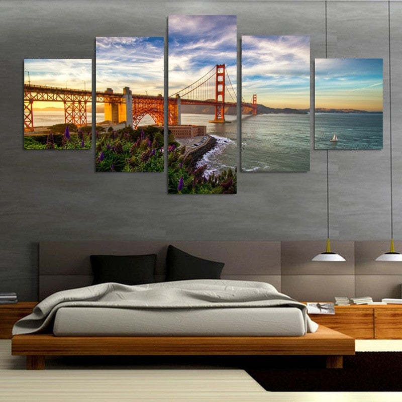 Golden Gate Bridge 5 Pcs Wall Canvas -  - TheLedHeroes