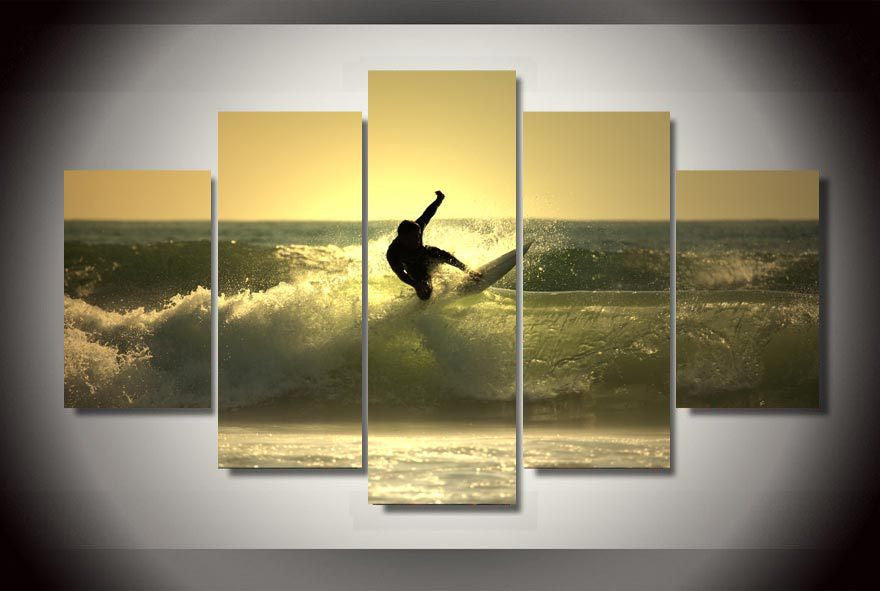 Surfer in the sunset 5 Pcs Wall Canvas -  - TheLedHeroes