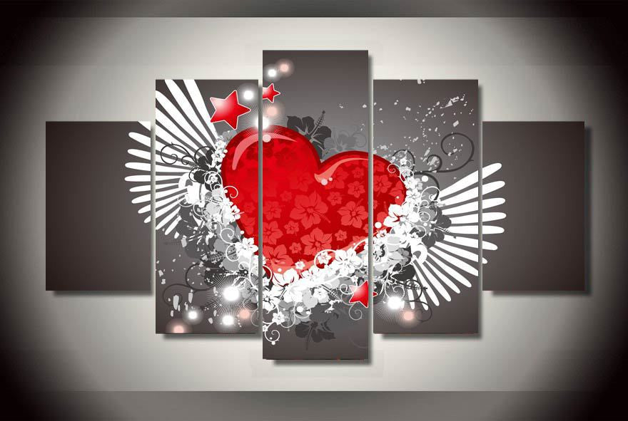 Red hearts and flowers 5 Pcs Wall Canvas -  - TheLedHeroes