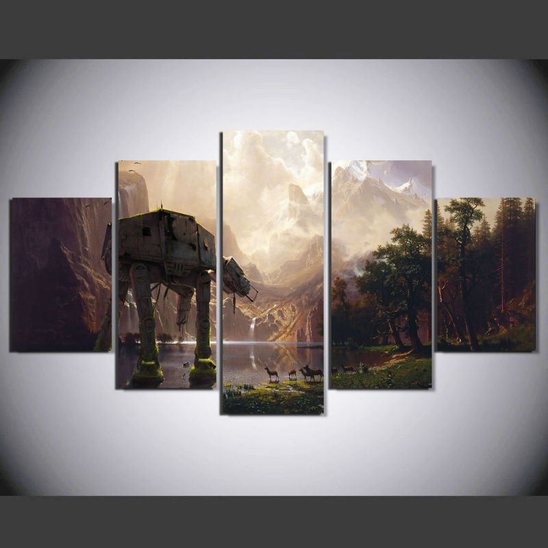 Star Wars AT-AT walker 5 Pcs Wall Canvas -  - TheLedHeroes