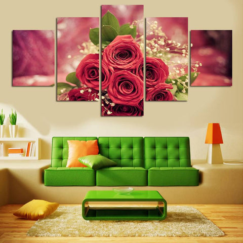 Abstract Red Rose Flowers 5 Pcs Wall Canvas -  - TheLedHeroes