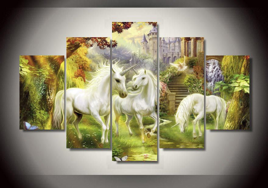 Thomas Kinkade forest scene landscape 5 Pcs Wall Canvas -  - TheLedHeroes