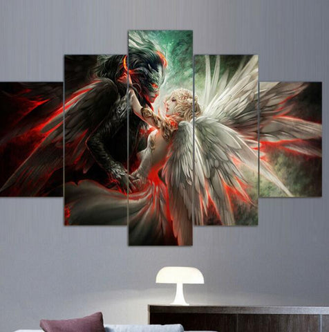 Angel and devil love 5 Pcs Wall Canvas -  - TheLedHeroes