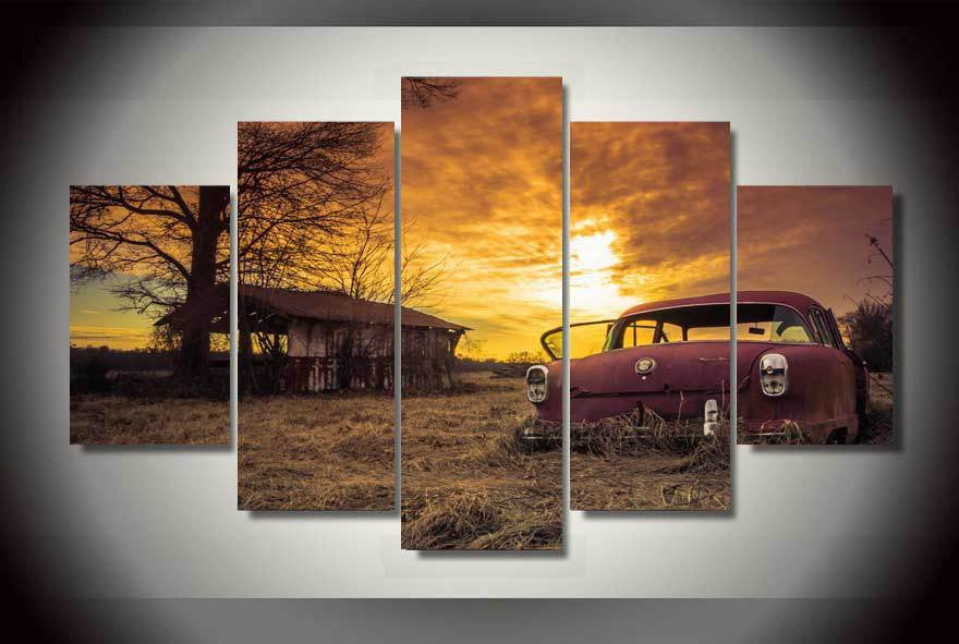Abandoned car in the sunset 5 Pcs Wall Canvas