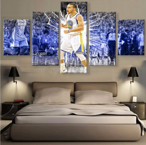 Basket-ball Stephen Curry 5 Pcs Wall Canvas