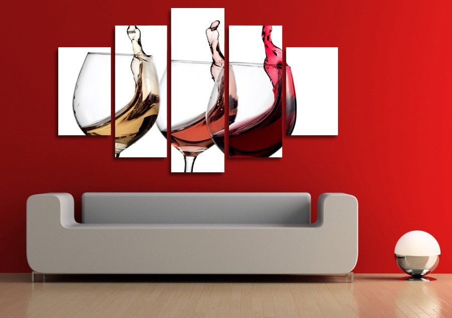 Colored wine glasses 5 Pcs Wall Canvas -  - TheLedHeroes