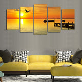 Birds Boats Seascape 5 Pcs Wall Canvas -  - TheLedHeroes
