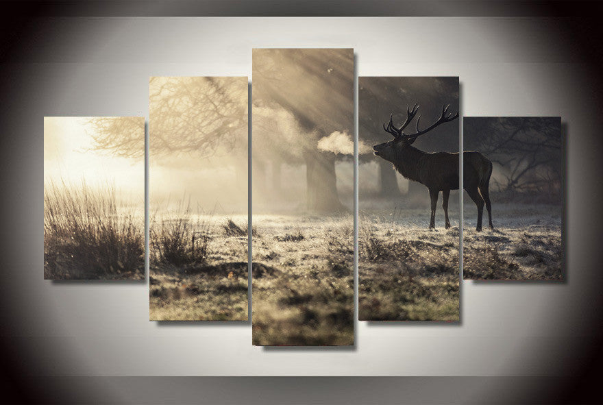 Deer in the forest 5 Pcs Wall Canvas -  - TheLedHeroes