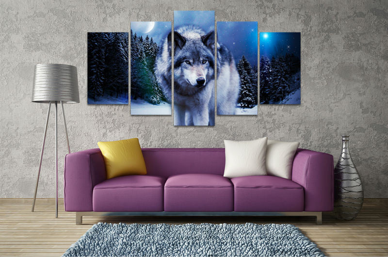 Wolf in the snow 5 Pcs Wall Canvas -  - TheLedHeroes