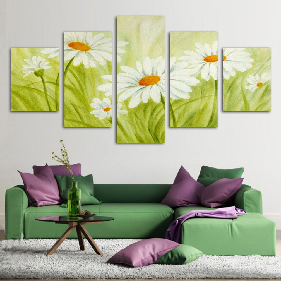 White Sunflower 5 Pcs Wall Canvas -  - TheLedHeroes
