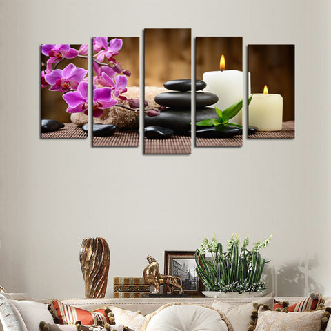 Candles and Purple Flowers 5 Pcs Wall Canvas -  - TheLedHeroes