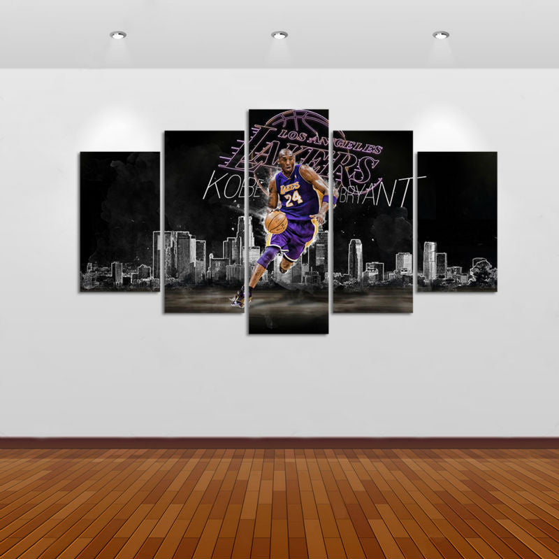 Basket-ball Kobe Bryant 5 Pcs Wall Canvas -  - TheLedHeroes
