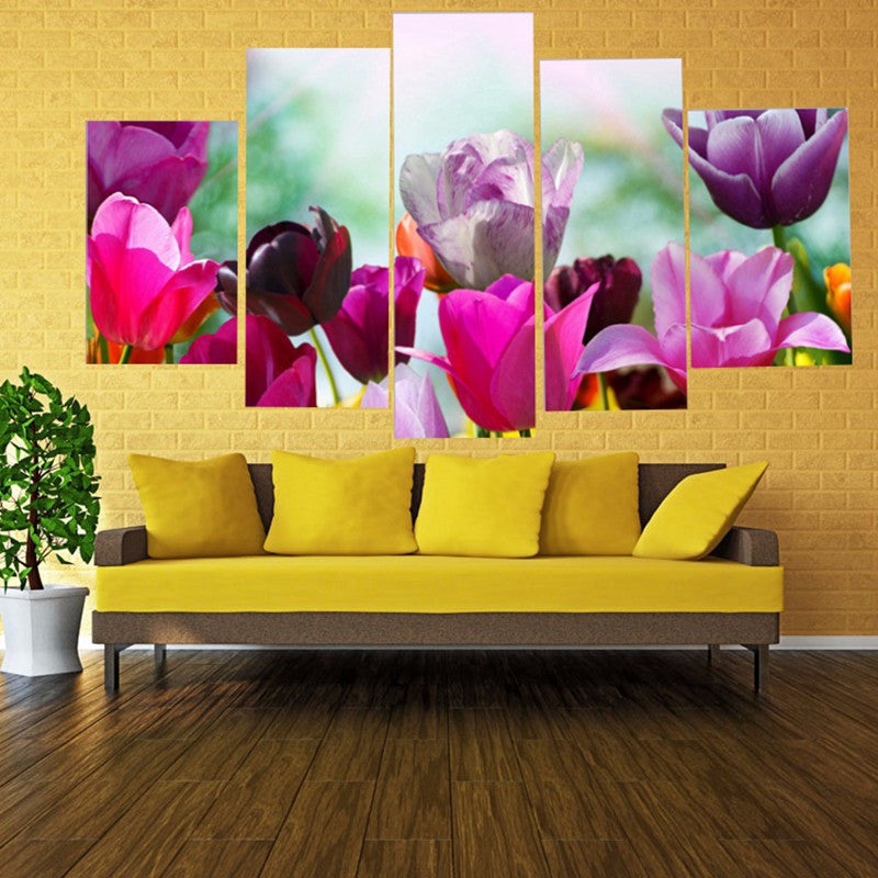 Pink and purple Flowers 5 Pcs Wall Canvas -  - TheLedHeroes