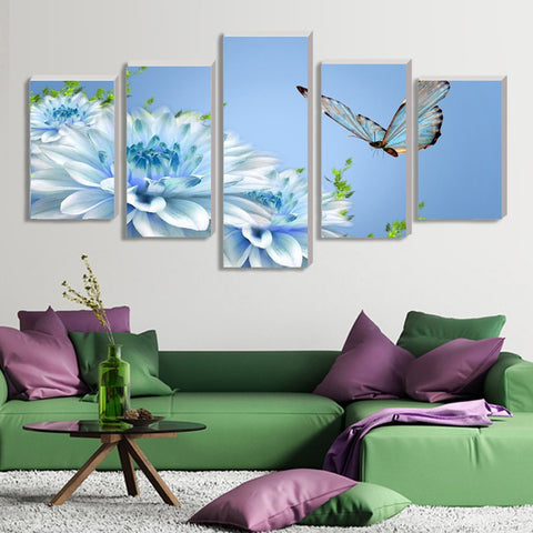 Butterfly and orchid 5 Pcs Wall Canvas -  - TheLedHeroes