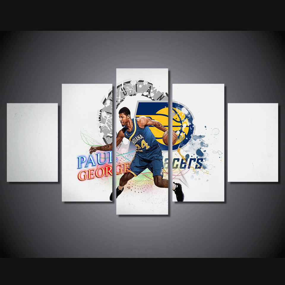 Basket-ball Paul George Indiana Pacers 5 Pcs Wall Canvas -  - TheLedHeroes