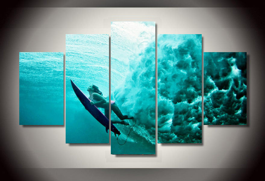 Surfing Underwater 5 Pcs Wall Canvas -  - TheLedHeroes