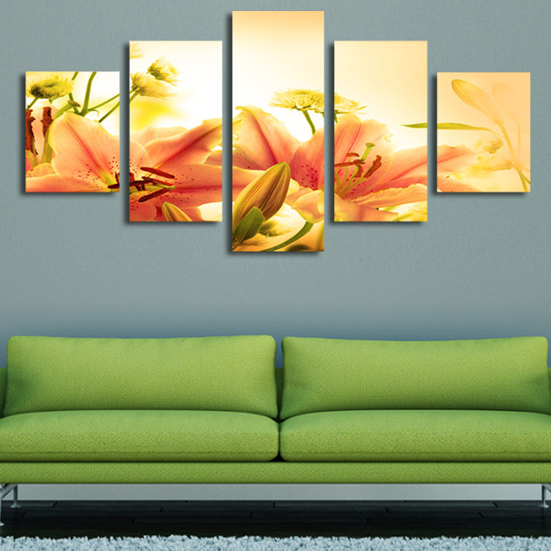 Lily flowers 5 Pcs Wall Canvas -  - TheLedHeroes