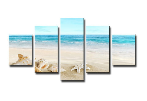 Beach landscape 5 Pcs Wall Canvas -  - TheLedHeroes
