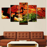 Autumn Trees Sunset 5 Pcs Wall Canvas -  - TheLedHeroes