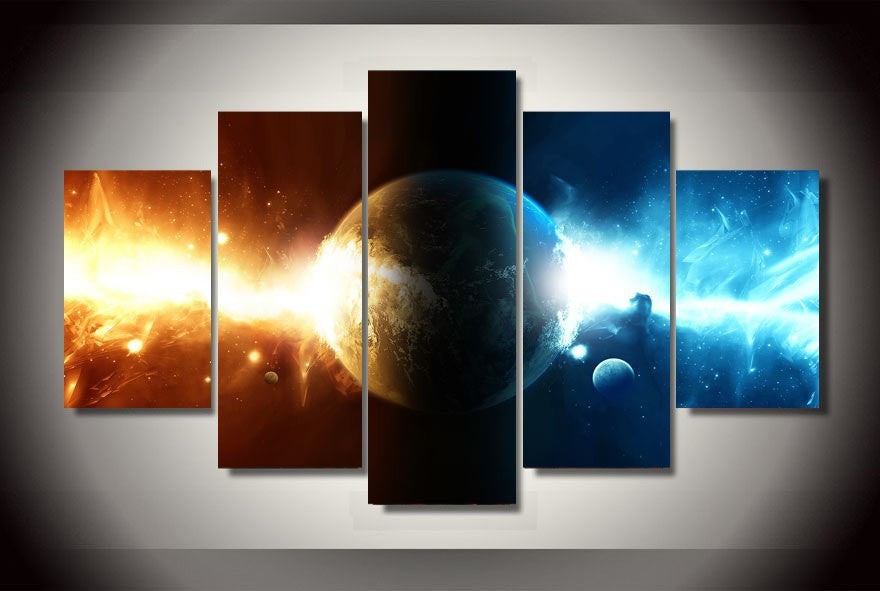 Universe galaxy room 5 Pcs Wall Canvas -  - TheLedHeroes