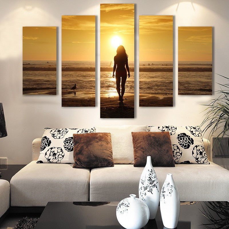 Sexy nude girl sunset seascape 5 Pcs Wall Canvas -  - TheLedHeroes
