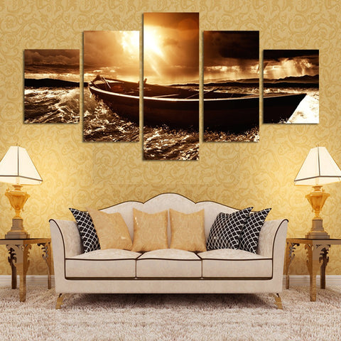 Beach Seascape Sea Boat Sunset 5 Pcs Wall Canvas -  - TheLedHeroes