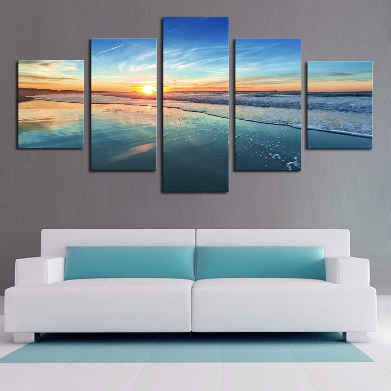 Sunset Sea 5 Pcs Wall Canvas -  - TheLedHeroes
