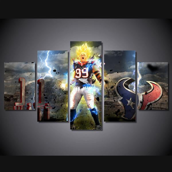 Super Saiyan Houston Texans 5 Pcs Wall Canvas -  - TheLedHeroes