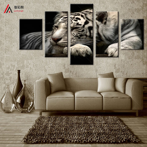 Black and White Tiger 5 Pcs Wall Canvas
