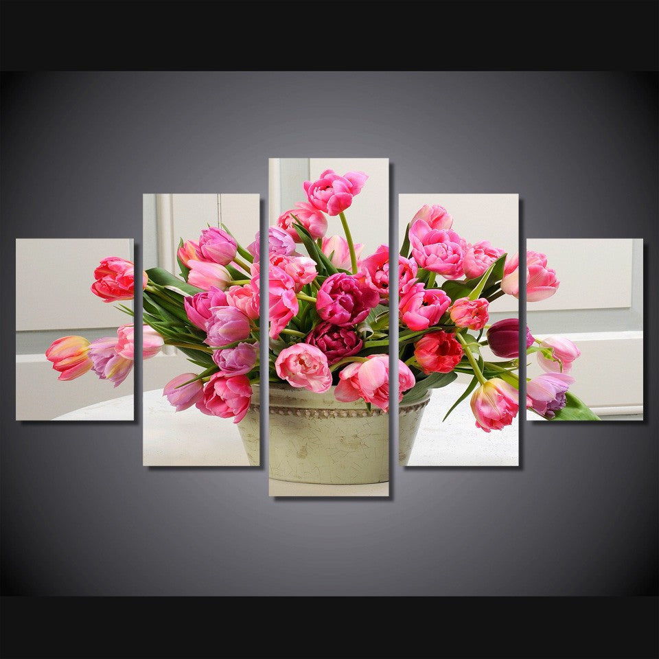 Tulips flower 5 Pcs Wall Canvas -  - TheLedHeroes