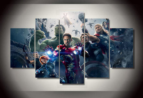 Avengers 5 Pcs Wall Canvas -  - TheLedHeroes