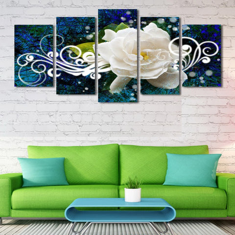 Abstract White Flowes 5 Pcs Wall Canvas