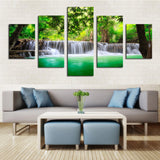 Waterfall Flowers colorful 5 Pcs Wall Canvas -  - TheLedHeroes
