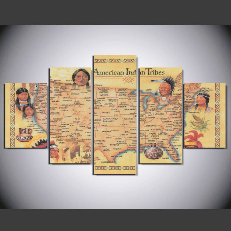 American Indian Tribes 5 Pcs Wall Canvas -  - TheLedHeroes