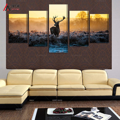 African sunset deer 5 Pcs Wall Canvas -  - TheLedHeroes