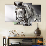 Black and White Horse 4 Pcs Wall Canvas