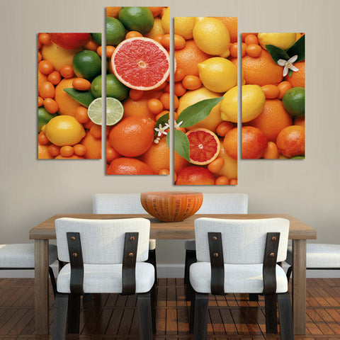 Citrus 4 Pcs Wall Canvas
