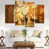 Elk Animal 4 Pcs Wall Canvas