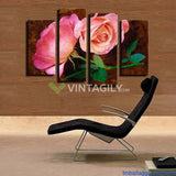Beautiful Red Roses 4 Pcs Wall Canvas