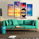 Dolphin Sunset 4 Pcs Wall Canvas