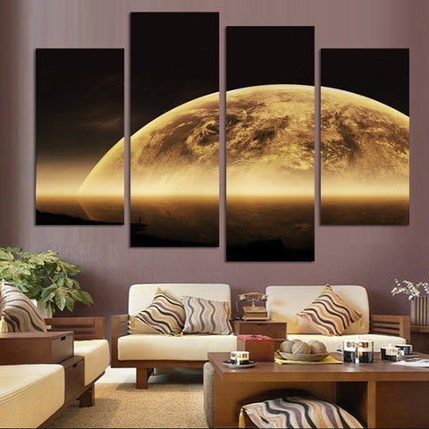 Earth Map From the Space 4 Pcs Wall Canvas -  - TheLedHeroes