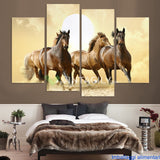 Brown Horse 4 Pcs Wall Canvas
