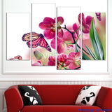 Butterfly and Orchid 4 Pcs Wall Canvas