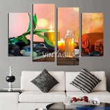 Candle Stone 4 Pcs Wall Canvas