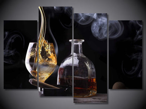 Cigar glass 4 Pcs Wall Canvas